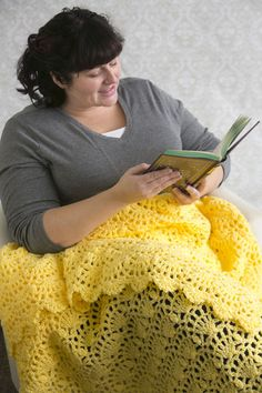 Lemon Bursts Throw - Made of a sunny yellow, this afghan is the perfect accent to brighten up your room and let the sunshine in. Perfect for beginners, this one-color afghan is worked with the same repeating stitch pattern. From the April 2015 issue of I Like Crochet