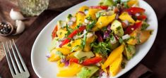 Is this summer on a plate? Whip up this avocado mango salad in no time and relish in the refreshing mix of textures and flavors. Raw Vegan Recipes, Vegan Vegetarian, Mango Salad, Roma Tomatoes, Best Chef, Fresh Lemon Juice, Clean Eating Recipes, Cilantro, Avocado