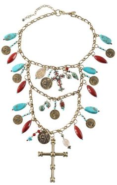 Beaded Cross & Faux French Coins Multi-Strand Necklace - Sheplers