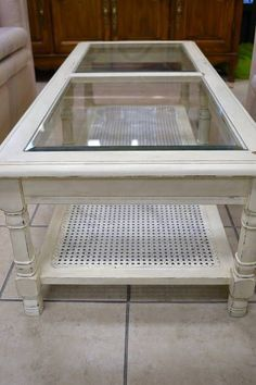 Coffee Table Cream Shabby Chic Distressed Finish With a Beveled Glass Top and Caned Bottom Shelf 51 W x 21 D x 15 H Coffee Table Refinish, Door Coffee Tables, Round Glass Coffee Table, Coffee Table Makeover, Painted Coffee Tables, Coffee Table With Drawers, Glass Table, Shabby Chic Coffee Table, Shabby Chic Kitchen