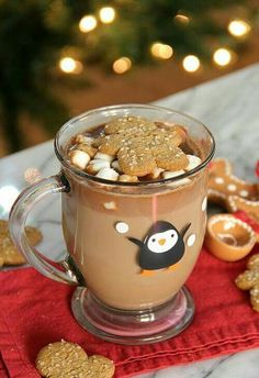 Nothing tastes better than steaming gingerbread hot chocolate on a cold snowy day. Simply mix milk, gingerbread syrup, sugar, and chocolate chips for this delicious concoction. Christmas Drinks, Holiday Drinks, Christmas Baking, Holiday Treats, Holiday Recipes, Merry Christmas, Christmas Morning, Christmas Desserts, Christmas Recipes