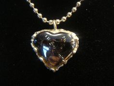 16 Amber glass heart necklace with handstamped by RockledgeStudios