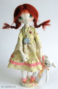 "Textile Cloth Art doll ""Lida"" fairy.red  Made-to-order. $95.00, via Etsy. ♡"