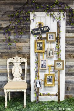 Something old, something new! Creatively display family photos at your wedding with a one-of-a-kind family tree. We picked out frames to hang on a rustic-looking ladder for ours!