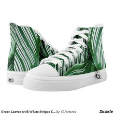 Green Leaves with White Stripes Closeup High-Top Sneakers - Canvas-Top Rubber-Sole Athletic Shoes By Talented Fashion And Graphic Designers - #shoes #sneakers #footwear #mensfashion #apparel #shopping #bargain #sale #outfit #stylish #cool #graphicdesign #trendy #fashion #design #fashiondesign #designer #fashiondesigner #style