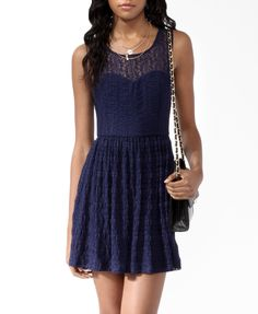 Gorgeous navy lace dress from forever21...I love simple but pretty dresses...I'd definitely wear a bright accent color with this, like red or orange ;) or even a lighter blue