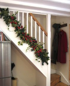 garland below the railing, maybe I will do this...2013 Christmas Garland Craft, Garland Christmas Craft, 2013 Christmas stairs Garland Craft,  Beautiful Christmas Decorations #Christmas #Garland #Crafts  www.loveitsomuch.com