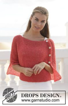 Knitted DROPS poncho in garter st with vent in Brushed Alpaca Silk. Free knitting pattern by DROPS Design. Knitted Poncho, Knitted Shawls, Crochet Scarves, Crochet Shawl, Crochet Clothes, Knit Crochet, Lace Shawls, Knit Cowl, Hand Crochet