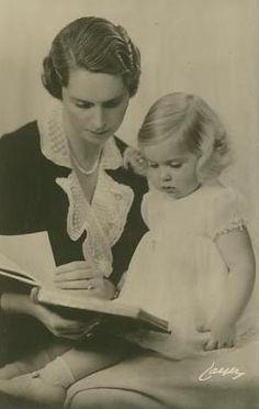 Prinzessin Sibylla von Schweden mit Tochter, Princess of Sweden with daughter