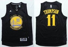 0d9bb332b Golden State Warriors Klay Thompson Black With Gold 2016 The NBA Finals  Patch Jersey