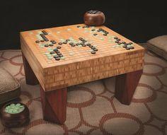 Her er en lidt ande tilgang til at lave et klassisk GO spillebræt. I stedet for at lave liniet på træet (eller bambussen som her) med farve, har man valgt at lave linierne ved at skære dem ud i pladen. Samme teknik er også set på flere gamle spil udført af sten. Japan Woodworker Catalog