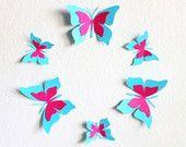Baby shower decorations - Butterfly wall decor - 3D Butterfly - Kids Wall Decor - 3D Butterfly wall art - aqua wall art - Paper butterflies