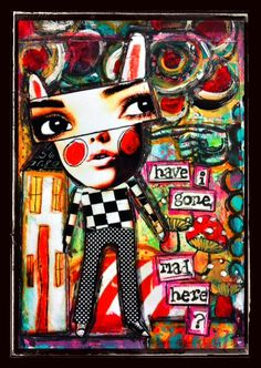 4x6   -acrylic's, oil pastel, and charcoal done on heavy cardstock using digital bunny image's by CrowaboutStudio'sB