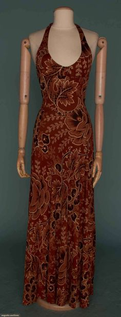 """Halter Maxi Dress, England, 1970s, label """"Bourgeois, Designed by Pam 9 Newburgh Street off Carnaby Street"""""""