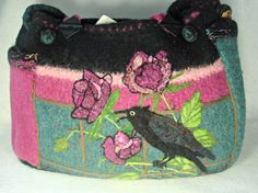 SALE-Felted Purse Felted Tote RAVEN PurseTravel BagBird
