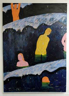 """Louis Fratino, """"Night Swimming (Ocean City)"""" [nd] 96 in. x 60 in. oil on canvas"""