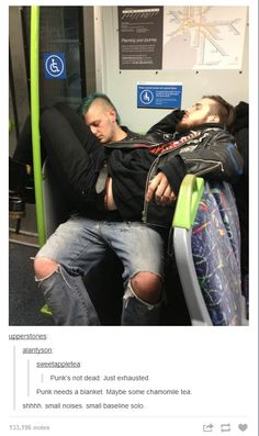 """lonely-trashcan: """" upperstories: """" alantyson: """" sweetappletea: """" Punk's not dead. Just exhausted. """" Punk needs a blanket. Maybe some chamomile tea. Tumblr Funny, Funny Memes, Jokes, Funny Cute, Hilarious, Mode Punk, Punks Not Dead, Mundo Comic, I Laughed"""