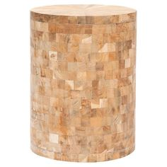 Reclaimed teak wood stool in light maple with a mosaic-inspired design.        Product: Stool  Construction Material: