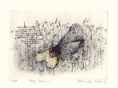 May Pekin by Pamela Grace hand coloured solar plate etching