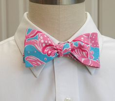 Oh my gosh, this store has the cutest bowties. Perf gift for the fratstar. Gotta remember this. Men's bow tie in Lilly Pulitzer pink and blue Making by CCADesign, $30.00