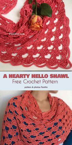 Crochet shawl 836614068266659682 - A Hearty Hello Shawl Free Crochet Pattern Source by moniquepeinture Crochet Mittens Free Pattern, Crochet Shawl Free, Crochet Gratis, Crochet Shawls And Wraps, Crochet Scarves, Crochet Clothes, Knit Crochet, Crochet Patterns, Crotchet