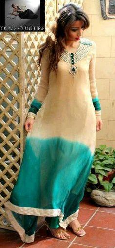 cream & aqua/turquoise Pakistani dress
