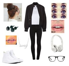 """Untitled #205"" by ilovejustinbieber189 ❤ liked on Polyvore featuring J Brand, RE/DONE, Converse, MANGO, Pin Show, Ace, Beats by Dr. Dre and Belk & Co."