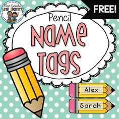 Pencil Name Tags FREE