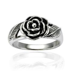 Chuvora .925 Sterling Silver Oxidized Detailed Rose Flower with Leaves Band Ring for Women - Nickel Free