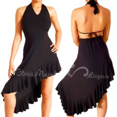 Sexy Women Ruffle Cocktail Party Tango Swing Dance Lycra Dress LTD01 BK