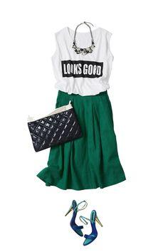 レディなグリーンの麻スカートで賢く着こなす夏と秋 ― A