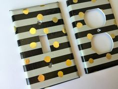Metallic Gold White Black Polka Dots And Stripes Light Switch Cover -Various Sizes Offered. Beautiful metallic Gold, White, and black polka dot and stripes pattern. A very unique pattern would be great in a nursery, bedroom, living room, or office. Screws are included for easy installation. *****Please use the drop down menu to make your size selection******** Gold White Polka Dots and stripes Single Light Switch Plate Cover Outlets / Gold Home Decor / Gold White Bedroom Decor / Gold…