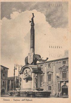 Catania Fontana dell'Elefante animata viaggiata 1941 C651