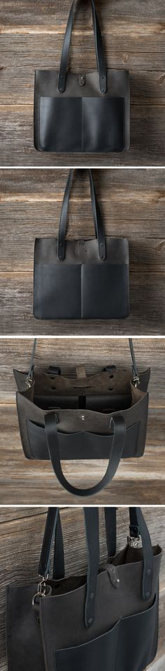 Corium // Now available in chic, BLACK full grain leather! Come get a closer look at this darling new shade of the Leather Pocket Tote!