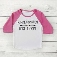 Kindergarten Here I Come Shirt Girl First Day of School Photo Prop Pink and Gold 1st Day of Kindergarten Shirt 297 #1st_day_of_school #1st_day_outfit #back_to_school