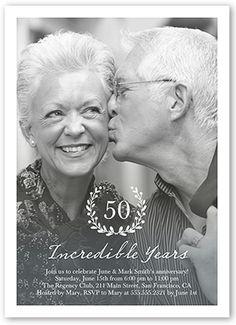 Wedding Anniversary Invitations: Incredible Years Wreath, Square Corners, White