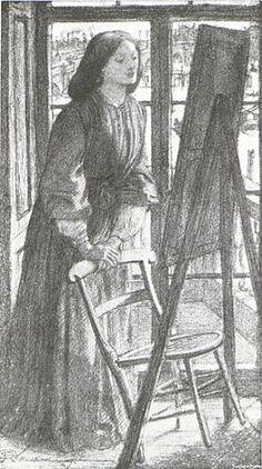 Elizabeth Siddal . Dante Gabriel Rossetti .  1861 (circa) . pencil
