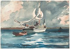 Sloop, Nassau Winslow Homer (American, Boston, Massachusetts 1836–1910 Prouts Neck, Maine) Date: 1899 Medium: Watercolor and graphite on off...