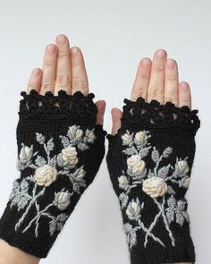 Knitted Fingerless Gloves, Gloves & Mittens, Gift Ideas, For Her, Winter Accessories, Black, Ivory, Roses,Fashion, Accessories, Autumn: