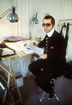 1978 - Karl Lagerfeld at work