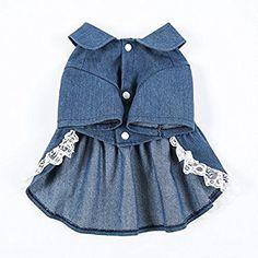 Amazon.com : Sweet Pet Denim Skirt Cute Dog Costumes Spring Jean Lace Dress for Dogs (XXL) : Pet Supplies