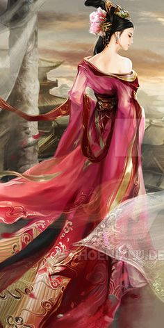 Asian art Imperial Vermillion by *phoenixlu on deviantART (detail) Fantasy Art Women, Beautiful Fantasy Art, Chinese Painting, Chinese Art, Japanese Calligraphy, Fantasy Paintings, Funny Tattoos, Pretty Art, Ancient Art