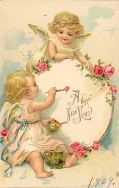 Angels Vintage New Year Postcard - Happy New Year 2019 Vintage Greeting Cards, Vintage Christmas Cards, Vintage Holiday, Vintage Postcards, Vintage Ephemera, Images Victoriennes, Vintage Happy New Year, Vintage Illustration, New Year Postcard