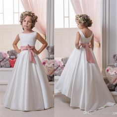 Shop girl white satin floor length girls dresses factory direct on DHgate and get worldwide delivery - Page Gowns For Girls, Frocks For Girls, Wedding Dresses For Girls, Girls Dresses, Bridesmaid Dresses, Dressy Dresses, Dress Wedding, Cheap Flower Girl Dresses, Lace Flower Girls