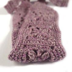 Crochet Headband, Boho Hairband, Wool - Lavender With Silver Metallic Highlights