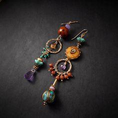 Etsy :: Your place to buy and sell all things handmade Turquoise Asymmetrical Earrings Aqua Purple Chandelier Earrings Cheetah Leopard Earrings Animal Print Earrings Festival Earrings Statement Boho Jewelry, Jewelry Crafts, Beaded Jewelry, Jewelry Accessories, Jewelry Design, Fashion Jewelry, Jewelry Ideas, Copper Jewelry, Gold Jewellery