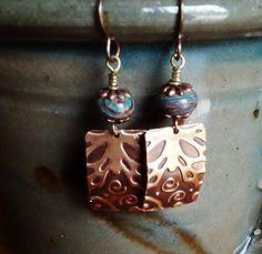 Embossed Brass Rectangle Earrings with Aqua Rhodonite Stones, $29   stonemountainjewelry - Jewelry on ArtFire