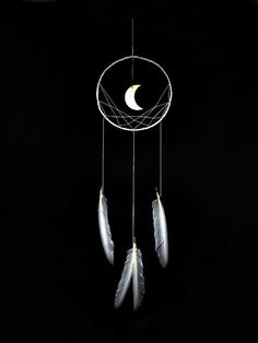 Minimalist dreamcatcher,  white, wall hanging, wooden moon, white feathers, dream catcher, long, large, handmade, bedroom decor on Etsy, $45.00