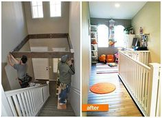 Turn Dead Space Above A Staircase Into a Playroom - ugh. if ever I get a house with this stupid lack of space, I am so putting my future husband to work. Dead Space, Attic Renovation, Attic Remodel, Diy Casa, Attic Storage, Playroom Storage, Playroom Organization, My Dream Home, Dream Big