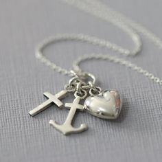 Sterling Silver Cross, Heart and Anchor Necklace, Faith Hope and Charity Necklace, Confirmation Gift, Baptism Gift, Remembrance Gift